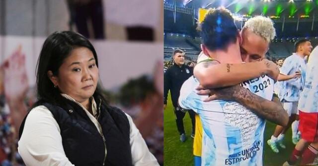 No la sueltan. Usuarios comparan a Keiko Fujimori tras final de Copa América 2021.