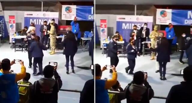 ¡Lo dejan todo! El Ministro de Salud y la PCM bailaron al término del Vacunatón.
