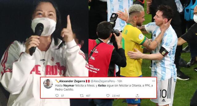 """En Twitter piden que Keiko Fujimori """"acepte su derrota"""" como lo hizo Neymar con Lionel Messi."""
