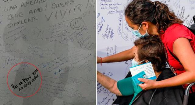 En los murales los vacunados pueden escribir mensajes de aliento, esperanza y fuerza para superar esta pandemia.