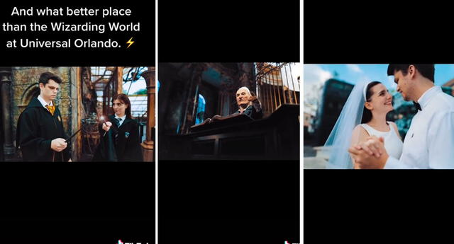 La pareja grabó todo grabada en el Wizarding World of Harry Potter de Universal Studios.