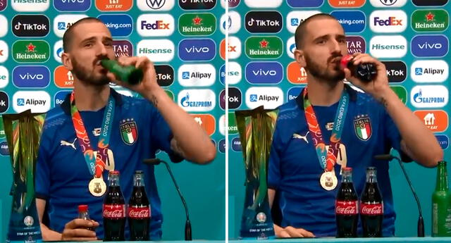 "Leonardo Bonucci ""desacreditó"" a Cristiano Ronaldo al tomar gaseosa y cerveza a la vez."