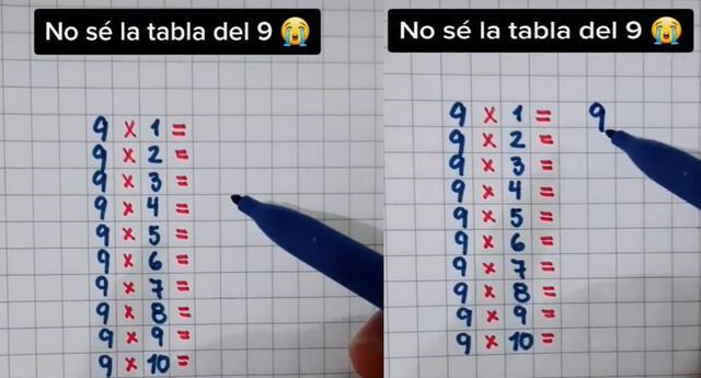Video de la tabla del 9 se hizo viral en las redes sociales.