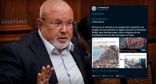 ¡Patinada! Carlos Bruce se vuelve tendencia tras referir a protesta en cuba, pero era de Egipto.