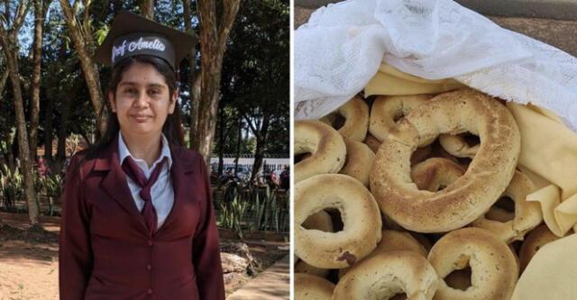 Joven madre soltera logró titularse de profesora vendiendo pan y sopa en la calle.