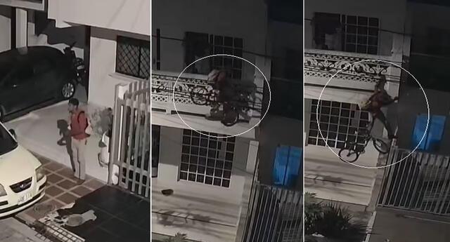 Se cree Spider-Man. Un ladrón roba bicicleta de segunda luego de treparse a las rejas de una casa.