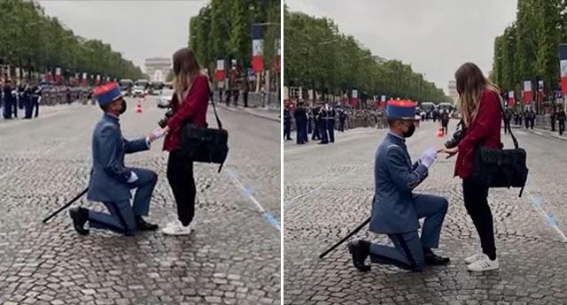 El joven estaba vestido con un uniforme ceremonial y, en medio de espectadores se dejó caer sobre su rodilla derecha.