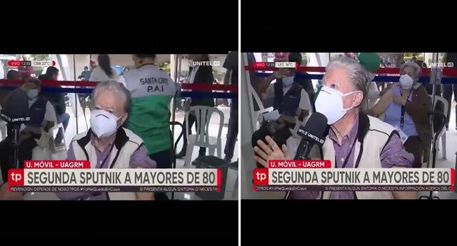 Señor bromea a reportero boliviano tras recibir segunda dosis de la vacuna contra COVID-19.