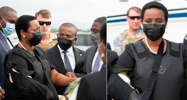 Martine Moise salió del avión vestida de negro, y con un yeso en el brazo debido a una herida de bala que sufrió el pasado 7 de julio.
