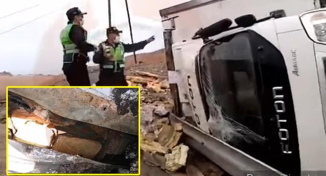 Vehículo pesado se volcó en el kilómetro 608.