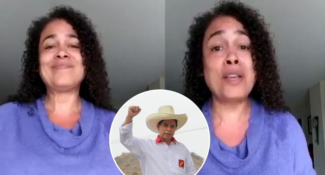 Ebelin Ortiz le canta 'Flor de Retama' a Pedro Castillo.
