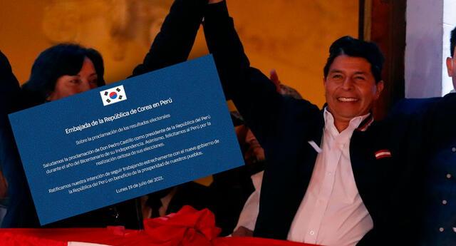 La Embajada de Corea en Perú felicitó a las autoridades electores del país por la realización de los comicios generales.