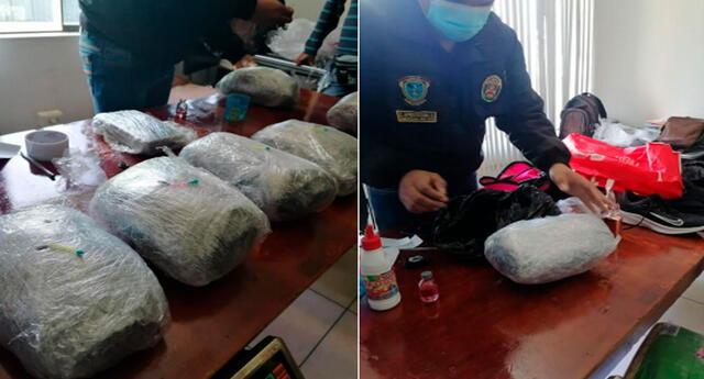 La droga incautada a la mujer y la PNP en pleno trabajo