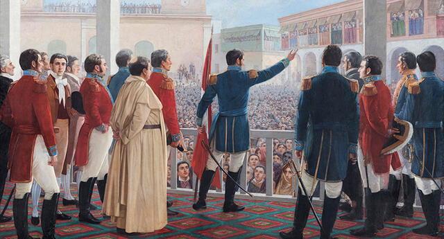 Proclamación de la Independencia del Perú - Juan Lepiani (1904). La pintura que ilustra el momento en que José de San Martín proclama la independencia del Perú en 1821.