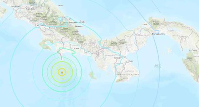 Hasta el momento, no se reportan daños, indicó el Sistema Nacional de Protección Civil de Panamá. Foto: USGS