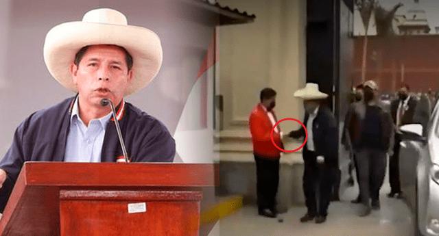 Al llegar, el presidente electo fue recibido por la seguridad de Palacio, y por protocolo también lo esperaban los mayordomos.
