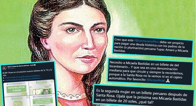 Usuarios vuelven tendencia a Micaela Bastidas y piden que haya un billete de ella
