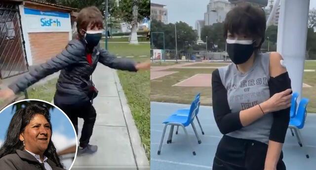 Tatiana Astengo baila y celebra haber recibido su segunda vacuna.