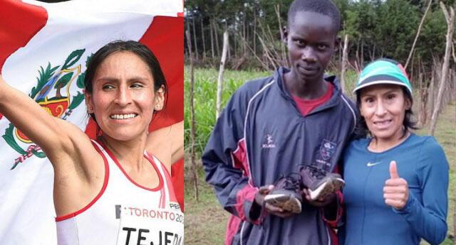 Gladys Tejeda apoya a joven deportista de escasos recursos y le regala sus zapatillas.