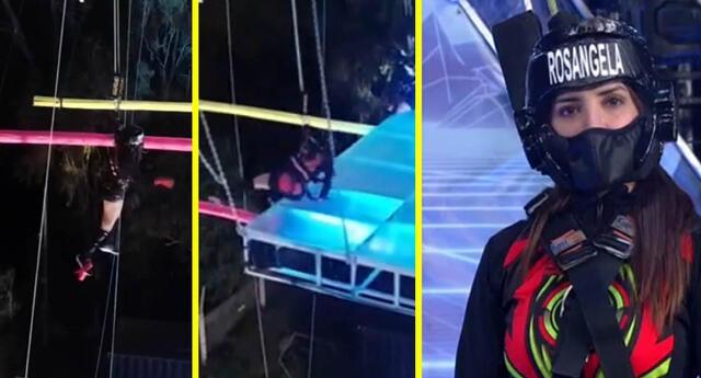 Esto es guerra: Rosángela Espinoza sufre resbalón en vivo durante reto extremo de altura