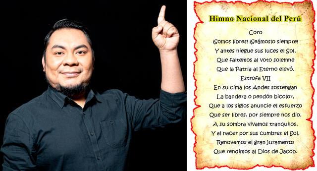 """""""Me encanta interpretar el himno, me emociona"""", dijo Moisés Piscoya."""
