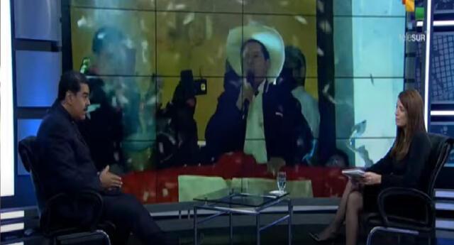 Nicolás Maduro habla sobre Pedro Castillo en una entrevista transmitida por el canal Telesur. Foto: captura video/Telesur