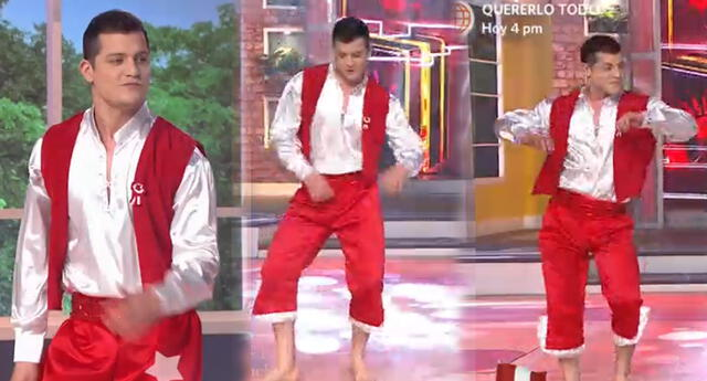 Gino Pesaressi sorprende a televidentes al bailar festejo.