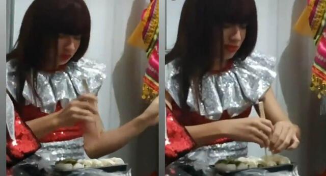 La Uchulú comparte gracioso video donde intenta comer con palitos chinos, pero se rinde.