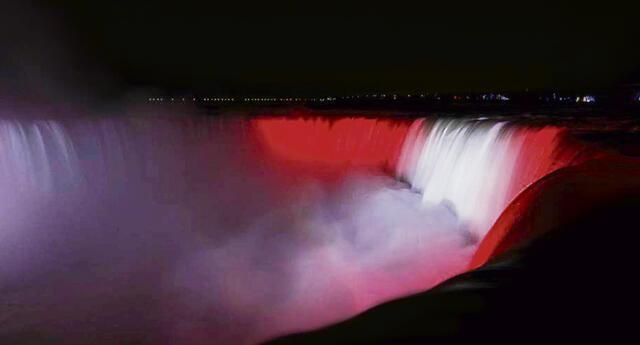 Niágara. Algunos sitios emblemáticos del mundo se iluminarán de rojo y blanco. En la foto las famosas cataratas de Canadá. Foto: Cancillería