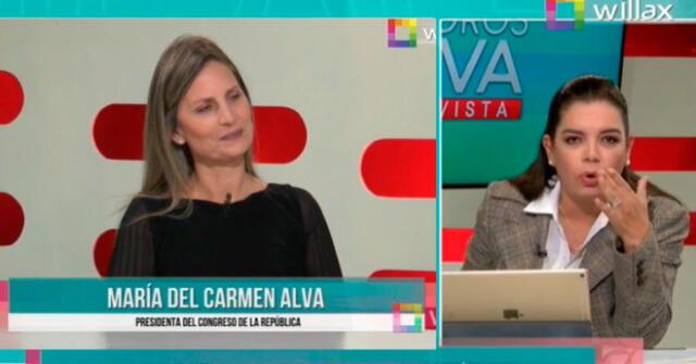 Milagros Leiva se mostró bastanta 'dura' con la presidenta del Congreso, María del Carmen Alva.