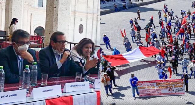 Lourdes Flores, Juan Sheput y Jorge del Castillo  en conferencia para el Frente Demócrata Arequipa