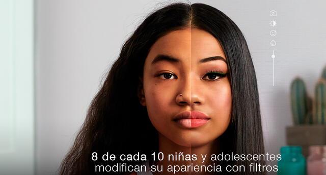 Niñas y adolescentes usan filtros para aparentar su apariencia.