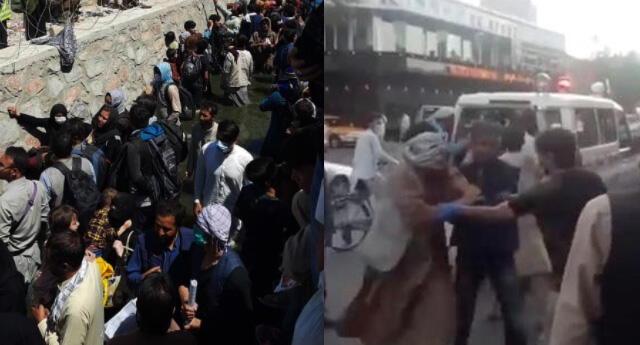 Miles de afganos se encuentran a la afueras del aeropuerto de Kabul para escapar de los talibanes.