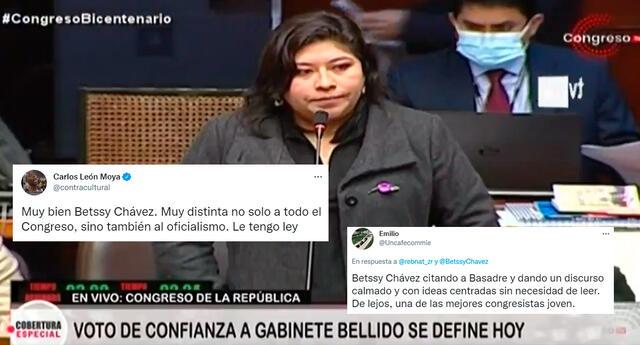 La congresista Betssy Chávez fue aplaudida por miles en Twitter.