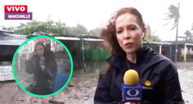 Una ola envolvió a la periodista, dejándola completamente empapada, pero así continuó con la transmisión.
