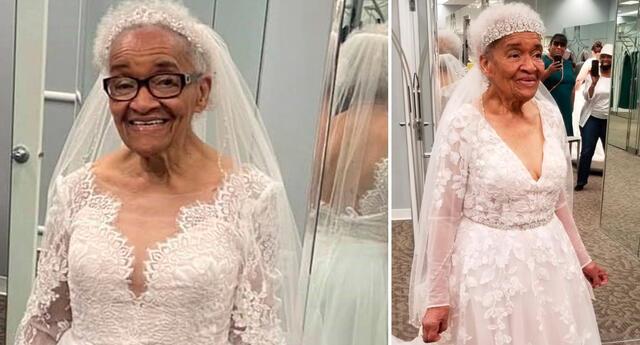 Martha Trucker, de 94 años, siempre soñó con utilizar un vestido de novia.