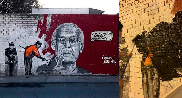 Los usuarios reportaron que el mural fue vandalizado por opositores en la noche del domingo.