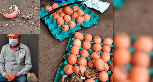 El detenido y los huevos con droga