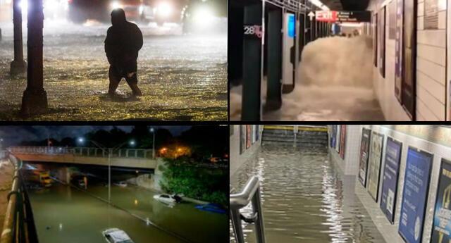 Las impactantes imágenes de Nueva York en medio de las fuertes inundaciones por huracán Ida.