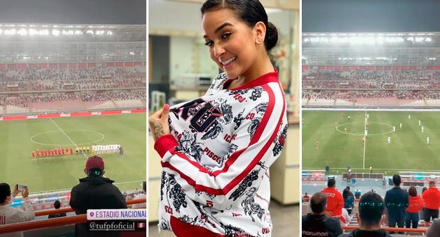 Daniela Darcourt alienta a la selección peruana desde el Monumental.