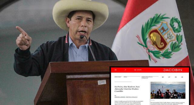 """En Perú, los cuchillos ya están listos para Pedro Castillo"""", indicó la revista Jacobin."""