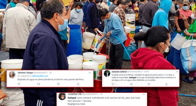 Usuarios critican a Sedapal por dejar sin agua por más de 7 días a vecinos en SJL. Foto: Difusión