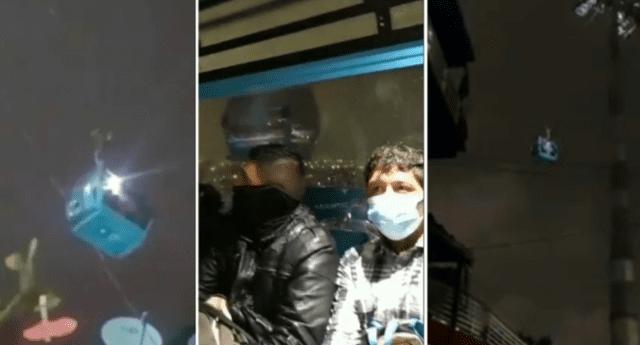 Los pasajeros se encontraban en pleno viaje dentro del teleférico al momento del fuerte sismo.