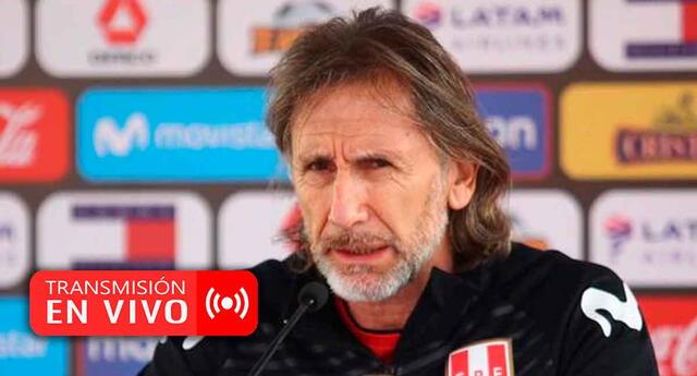 Ricardo Gareca brinda declaraciones tras la derrota de Perú frente a Brasil.