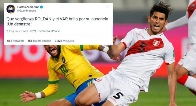 Carlos Zambrano utilizó su cuenta de Twitter para opinar sobre la derrota de la selección.