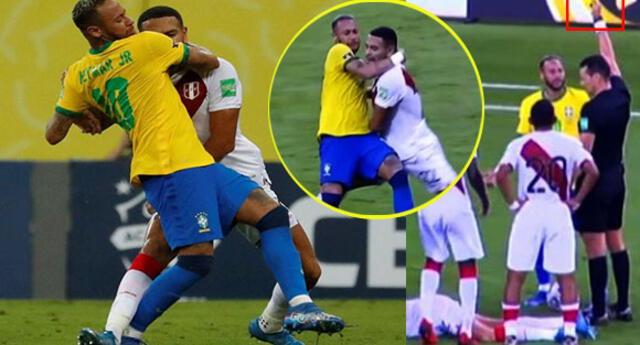 El fuerte golpe que le propinó Neymar a Callens y que el VAR ignoró durante el Perú-Brasil.