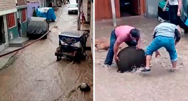 SJL: vecinos del jirón Liberación tuvieron que abrir la tapa de un desagüe para que el agua servida pueda retirarse por ahí.