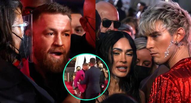 El luchador Conor McGregor no aguantó pulgas y sorprendió al tirarle una bebida al cantante Machine Gun Kelly en plena alfombra roja de los premios MTV.