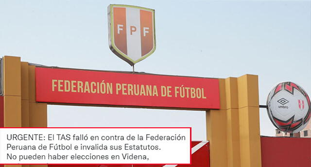 No habría nueva elecciones en la Federación Peruana de Fútbol (FPF) tras fallo de TAS.