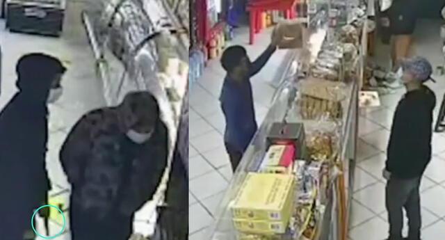 Delincuentes son captados robando y atendiendo en una panadería de SJM.